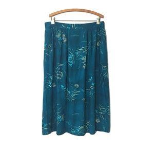 Vintage TEAL Blue FLORAL Skirt With POCKETS